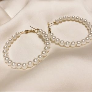 Round Pearl Hoop Earrings